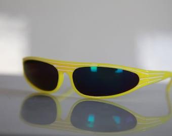 Vintage Yellow Wrap Disco Frame, White Stripes, Dark Iridescent lenses.