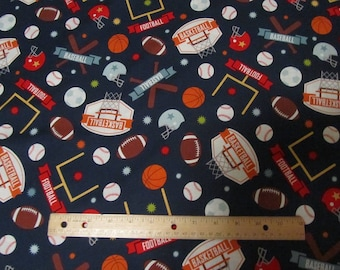 Navy Blue Sports Theme/Game Day Riley Blake Cotton Fabric by the Yard