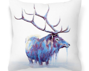 White animal print cushion cover - stag 'Watercolor Elk' decorative cushions/ throw pillow case for sofa / home / bedroom - 18'' (45cm)