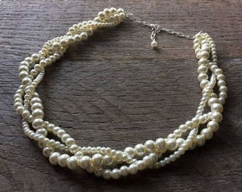 Ivory Pearl Wedding Necklace, Braided Pearl Necklace, Pearl Bridal Necklace, Multi Strand Necklace on Silver or Gold Chain