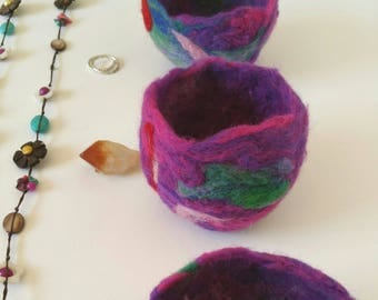 Set of 3 unique and delicate needle felted bowls