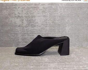Vtg 90s Black Neoprene Block Heel Minimal Mules Clogs 6