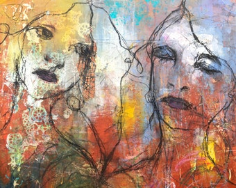 Sisters. Mixed Media. Acrylic Painting. Portrait. Contemporary. Modern. Print.