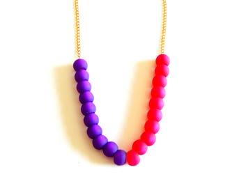 Purple & Fuschia Gold Necklace