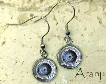 Camera lens earrings, camera earrings, camera jewelry, photography earrings HG199DP