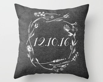 Wedding Date Throw Pillow, personalized pillow, custom date pillow, grey floral pillow, wedding date pillow, gray floral pillow