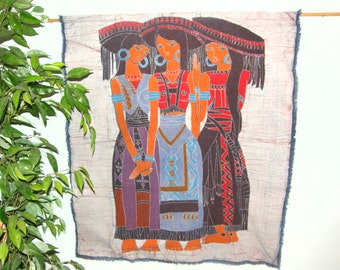 Chinese Ladies in Tribal Dress - Big Wall Hanging made from Vintage Chinese Batik from Guizhou Province