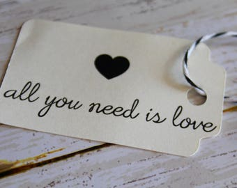 All You Need is Love, MEDIUM, Wedding Favor Tags, Wedding Favor, Favor Tags, Kraft Tags, Wedding Tags