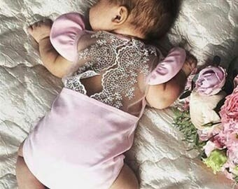 Newborn baby outfit | Pink lace outfit for new-borns | Pink new-born baby lace