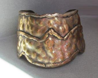WIDE Vintage Etruscan Hammered Brass Upper Arm Cuff Bracelet