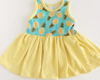 3-6 month baby pineapple Sundress, summer dress, play dress