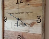 """13"""" personalized wall clock, reclaimed wood clock, pallet wall clock, square wall clock, wedding gift, anniversary gift, realtor gift"""