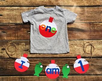 Fishing Birthday// One//First Birthday/Boy//Shirt//Photo Prop//Birthday Shirt//Ready To Ship//Fishing Banner Available
