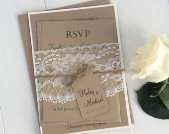 Rustic Wedding Invitation, Lace Wedding Invitation, Shabby Chic Wedding Invitation Sample