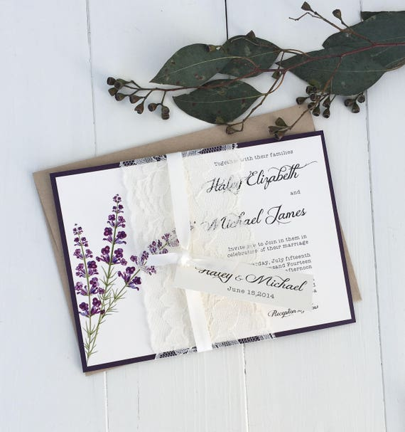 lace wedding invitations lavender wedding invitation rustic With lavender wedding invitations canada