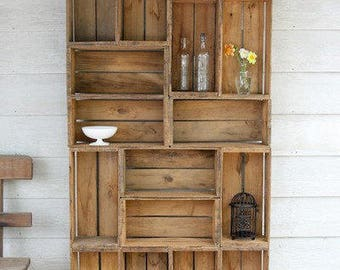 Outdoor LIVING room wood shelf garden shelving patio furniture Reclaimed farm produce crate DIY wooden renewable resource storage shelves