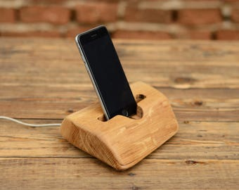 iPhone 6 holder, Solid wood stand, Docking station, iPhone holder, iPhone 7 dock, Samsung Galaxy station, Wooden phone stand, Gift ideas