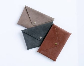 Leather Envelope Clutch - Envelope Wallet - Leather Cash Envelope - Mini Envelope Leather - Cell Phone Wallet, Leather Envelope Clutch Purse