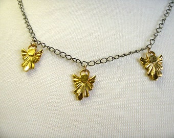 "Tiny Angel Necklace, Gold Plated Charms, Fully Adjustable 18"" Chain"