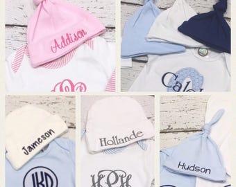 Monogrammed infant hat, Infant hat, Monogrammed baby hat, Baby beanie, Newborn hat, Embroidered hat