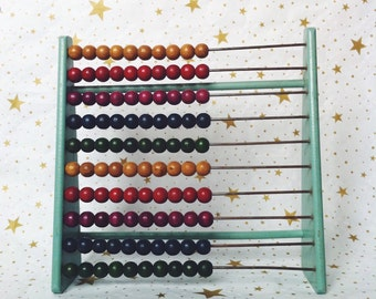 folk art abacus, antique spool abacus toy