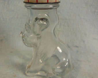 Vintage-1960-Clear Glass Dog-Candy Container--House Of Lowell Inc--No Candy
