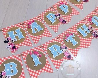 Farmer Minnie in Pink Birthday Banner / Happy Birthday Banner | cowgirl Minnie  Birthday Banner Party Decor | country farmer Minnie