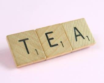 Wooden Scrabble Inspired Tea Brooch Pin, TEA Brooch, 3 Letter Word Brooch