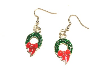 Christmas wreath earrings Xmas enamel geek novelty party Santa Claus stocking filler geek