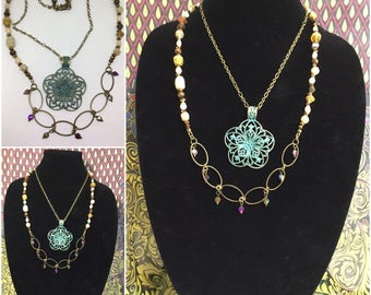Boho/Vintage Style Two Tiered Necklace.