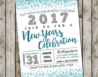 New Years Eve Invitation | New Years Party Invitation | New Years 2017 | New Years Party  | Digital Invitation