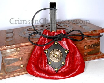 Red Leather Halfling pouch by Crimson Chain leatherworks - SCA LARP garb renaissance costume reenactment
