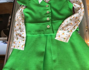 Vintage Green and Floral Child's Dress, 2 piece
