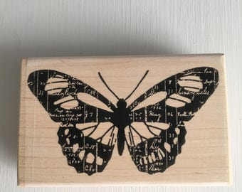 New! Ledger Butterfly Red Rubber Mounted Stamp by Christine Adolph for Stampington