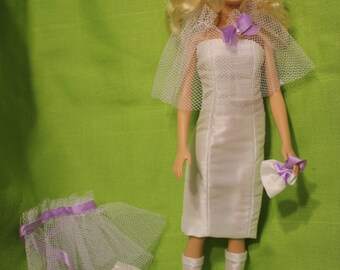 Dress and accessories for Barbie doll 6 pc