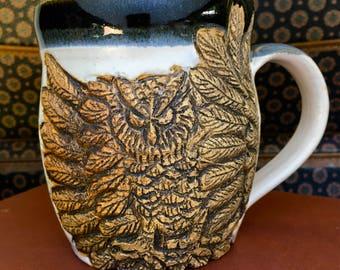 Owl Mug Hand-carved, Handmade Pottery Mug, Woodland Creatures