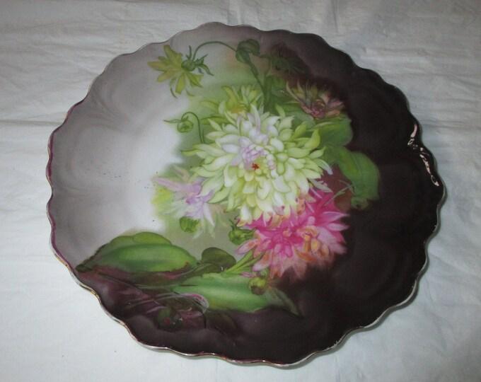 "9.75"" ZS & Co Bavaria Purple Plate Pink and White Mums - Porzellanfabrik Zeh Scherzer and Co (c. 1900)"