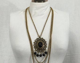 Vintage Celebrity Gems Triple Strand Black Embellished Pendant Necklace