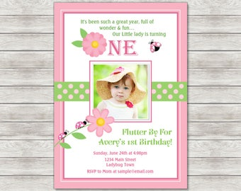 Ladybug Birthday Invitation, Pink Ladybug Invite - Printable File or Printed Invitations