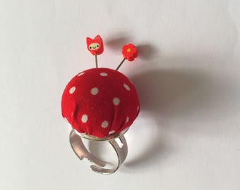 Teeny tiny handmade fabric Pincushion ring