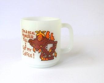 "Vintage Glasbake Coffee Mug.Funny Coffee Mug,""Im a real monster till I get my coffee""Novelty Office Mug. Milk Glass Glasbake Collectors Mug."