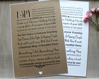 Wedding I Spy Camera Poster Sign Vintage/Shabby Chic Style Table Games Checklist