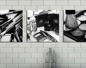 Chanel Bathroom Decor/canvas art/black and white makeup photography/Bathroom Art/set of 3 prints/bathroom wall decor/large wall art decor