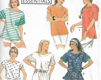 Vintage Simplicity 7171 Size Petite-XL Easy Essentials Overlock/Serger Misses' Knit Tops Sewing Pattern 1991 Uncut