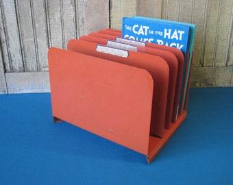 Vintage Vertical File Holder - Desk Tray - Organizer Heavy Metal -  Orange - Desk Accessories - Mid Century 1970's