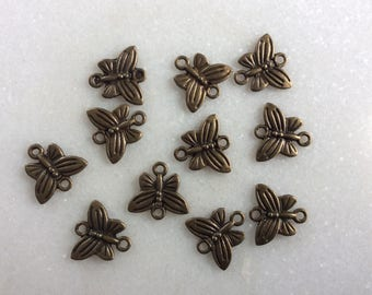 Antique bronze butterfly charm connectors