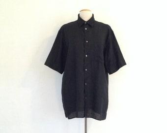 black linen shirt vintage black shirt 90s oversized shirt linen button up linen clothing short sleeve mens