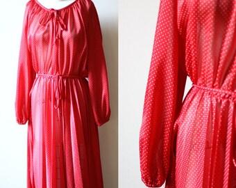 1970s red polka dot dress // 1970s day dress // vintage dress