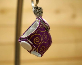Cloth Diaper Key Chain, Mini Cloth Diaper, Accessories, Key Chain, Purple Swirls, item #KC320