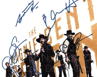 The Magnificent 7 signed Denzel Washington Chris Pratt Vincent D'Onofrio Ethan Hawke Byung-hun Lee 8X10 photo picture poster autograph RP